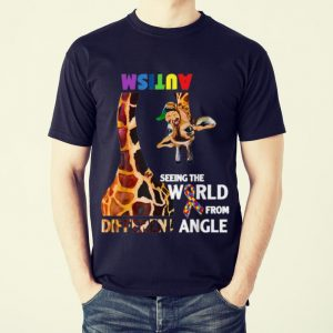 Funny Giraffe Autism Seeing The World From Different Angle Cancer Awareness shirt 1