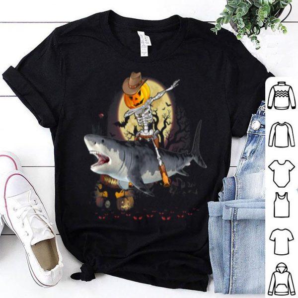 Official Dabbing Pumpkin Skeleton Riding Shark Halloween shirt