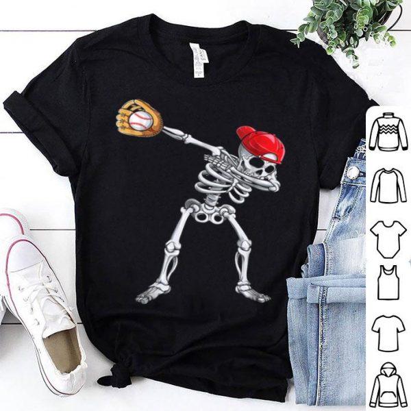 Official Dabbing Skeleton Baseball Halloween Boys Kids Men shirt