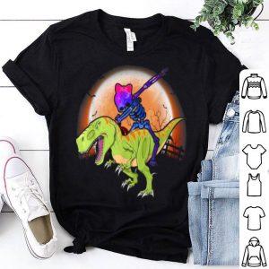 Original Colorful Space Skeleton Riding T-rex Dinosaur Halloween shirt