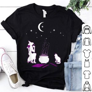 Top Funy Witch And Cat In Night Star Halloween shirt