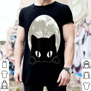 Awesome Cute black cat and full moon Halloween Cool Cat eyes shirt