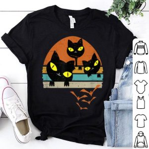 Beautiful Distressed Retro Sunset Black Cats Lover Halloween Gift shirt