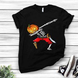 Dabbing Pumpkin Skeleton Pirate Lover Funny Halloween shirt
