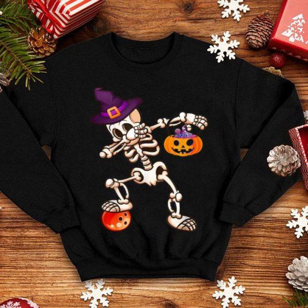 Dabbing Skeleton Bowling Halloween Kids Womens Gifts shirt