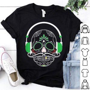 Funny Flowery Skull DJ Headphones Halloween shirt