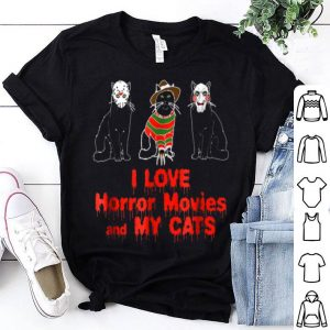 Funny I Love Cats Graphic Black Cat Horror Movie shirt