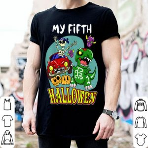 Nice 5th Birthday party my 5 fifth Halloween Baby Dinosaur shirt