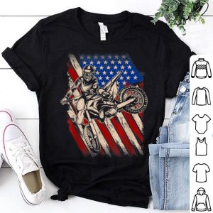 Nice Vintage Dirt Bike Motocross American Flag 4th Of July Enduro shirt