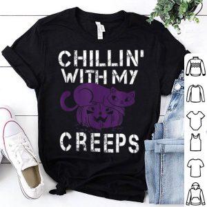 Premium Chillin With My Creeps Cat Pumpkin Halloween shirt