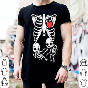 Premium Skeleton Pregnancy Announcement Twins Xray Halloween shirt