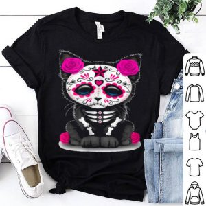Top Sugar Skull Cat Day Of The Dead Halloween shirt