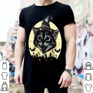 Top Vintage Scary Halloween Black Cat witch Hat Moon Pumpkin Bat shirt