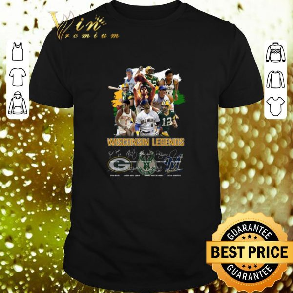 Awesome Wisconsin Legends Green Bay Packers Milwaukee Brewers signatures shirt