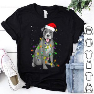 Beautiful Pitbull Christmas Funny Santa Hat Xmas Lights Pitbull Dog shirt