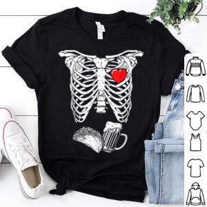 Beautiful Skeleton Pregnancy tacos Beer Xray Halloween Soon Dad shirt