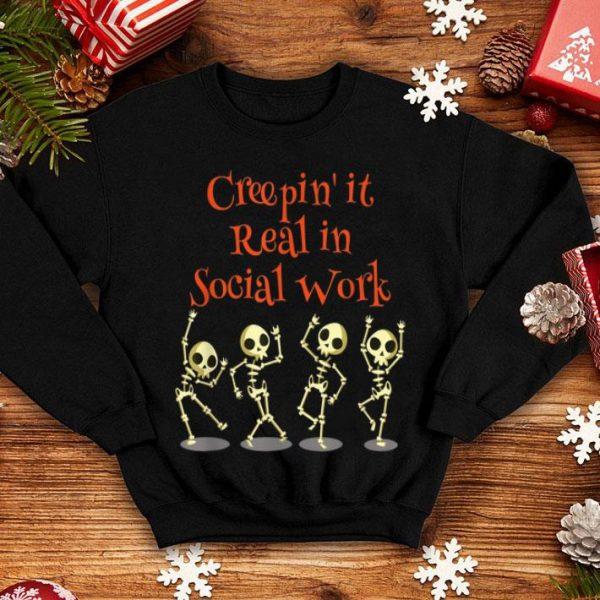 Hot Social Work Creepin' it Real HALLOWEEN School Teacher shirt