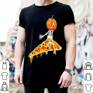 Original Pumpkin Skeleton Riding a Pizza Halloween shirt