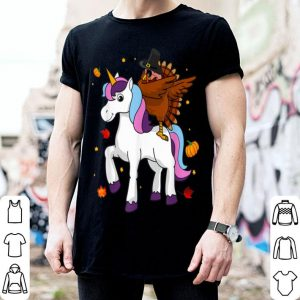 Top Dabbing Turkey Riding Unicorn Thanksgiving and Christmas shirt