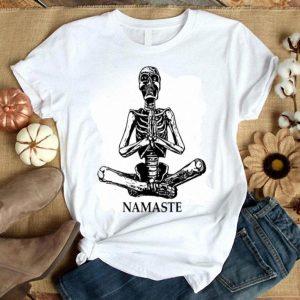Top Halloween Yoga Lotus Position Namaste Skeleton Gift shirt