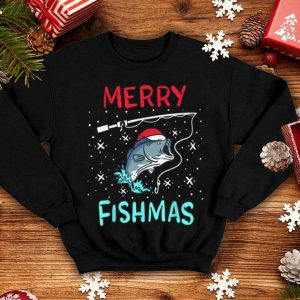 Top Merry Christmas Fishmas Funny Fishing Fish Reel Gift Present shirt