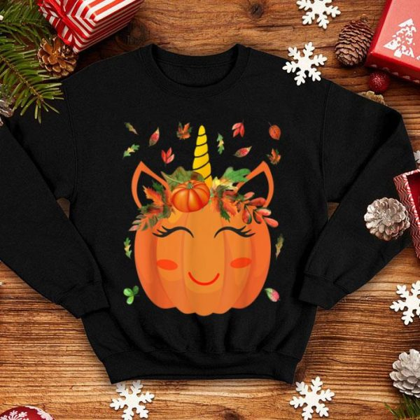 Awesome Cute Unicorn Pumpkin for Kids Halloween Thanksgiving shirt