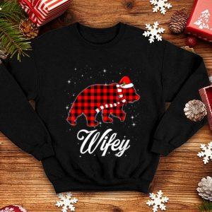 Awesome Red Plaid Wifey Bear Buffalo Matching Family Christmas shirt