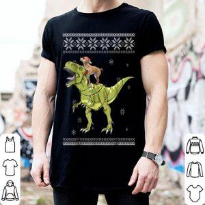 Beautiful Chihuahua Riding T Rex Dinosaur Christmas Light Xmas shirt