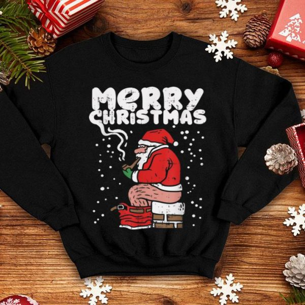 Beautiful Funny Christmas Santa Shitting Down Chimney Adult Gift shirt