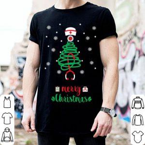 Beautiful Nurse Christmas Stethoscope Tree Funny Nursing Gift Xmas shirt