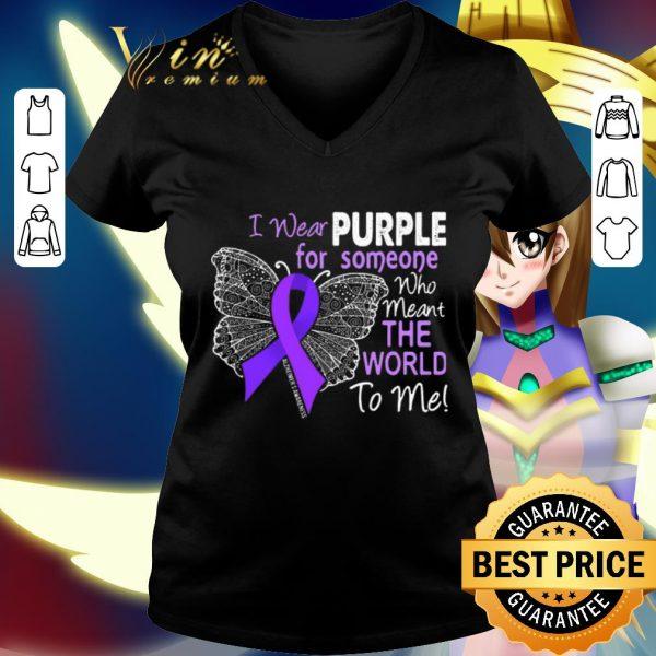 Best Butterfly i wear purple for someone world Alzheimer's Awareness shirt