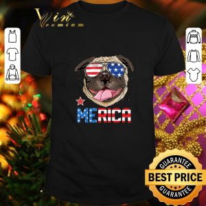 Best Sunglass Pug Merica 4th July independence day American flag shirt