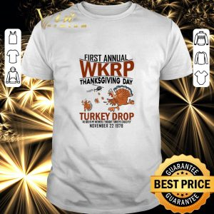 Funny Chickens first annual wkrp thanksgiving day Turkey drop as god shirt