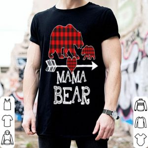 Hot Red Plaid Mama Bear One Cub Matching Buffalo Pajama Xmas shirt