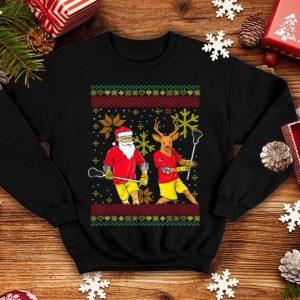 Nice Merry Laxmas Christmas Lacrosse Player Reindeer Santa Claus shirt