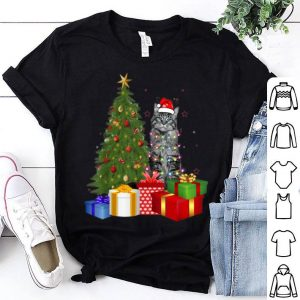Nice Santa Maine Coon Cat Christmas Tree Light Funny Xmas Cat shirt
