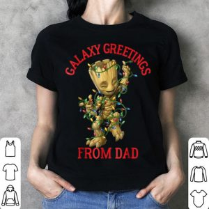 Official Mens Marvel Groot Galaxy Greetings From Dad Christmas shirt