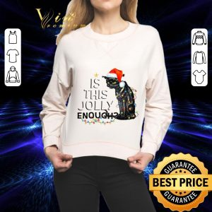 Original Black cat is this jolly enough Christmas Lights shirt