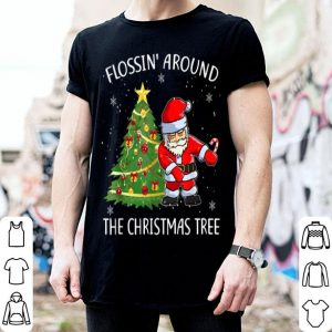 Original Funny Flossin' Around The Christmas Tree Flossing Santa shirt