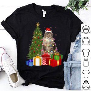 Original Santa Norwegian Forest Cat Christmas Tree Light Xmas Cat shirt