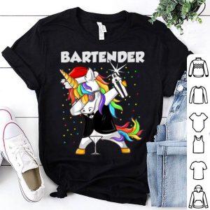 Premium Bartender Unicorn Santa Christmas Santa lover gifts shirt