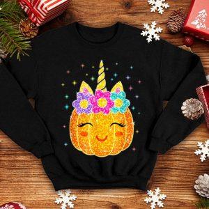 Top Cute Unicorn Pumpkin Halloween Thanksgiving Day shirt