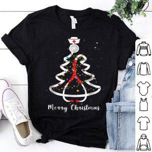 Top Merry Christmas Nurse Stethoscope Xmas Tree Gift shirt