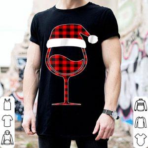 Top Red plaid Buffalo Christmas Hat Santa Wine Lover Gift shirt