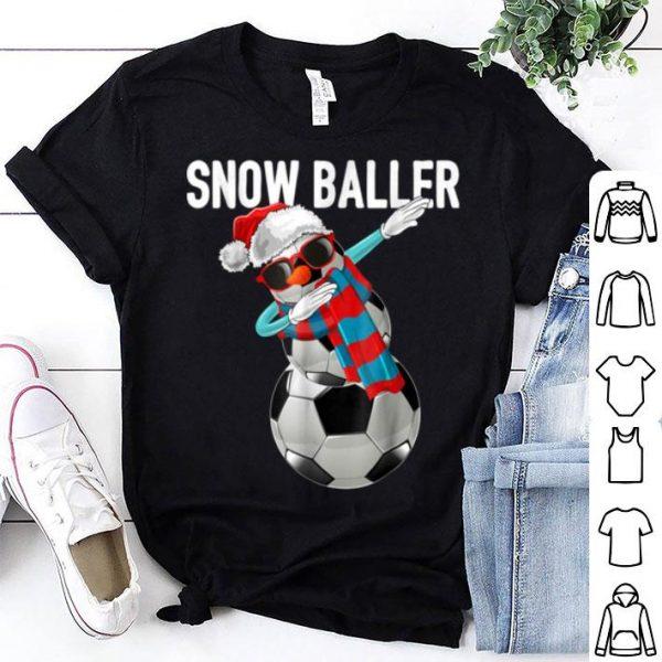 Top Snow Baller Dabbing Soccer Christmas Snowman Gift Kids shirt