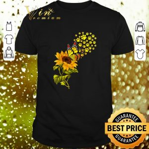 Awesome Dog Paw Sunflower And Butterfly shirt