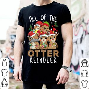 Awesome Funny Christmas Otters All of the Otter Reindeer sweater