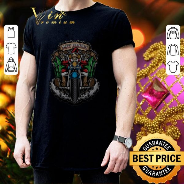 Awesome Santa Skull Biker Merry Christmas shirt