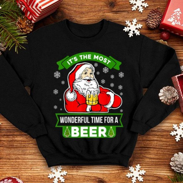Original Funny Christmas Santa Claus Most Wonderful Time For A Beer sweater