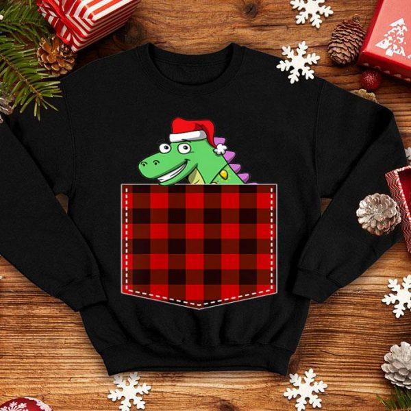 Original Red Plaid Dinosaur in Pocket Buffalo T Rex Pajama Christmas sweater